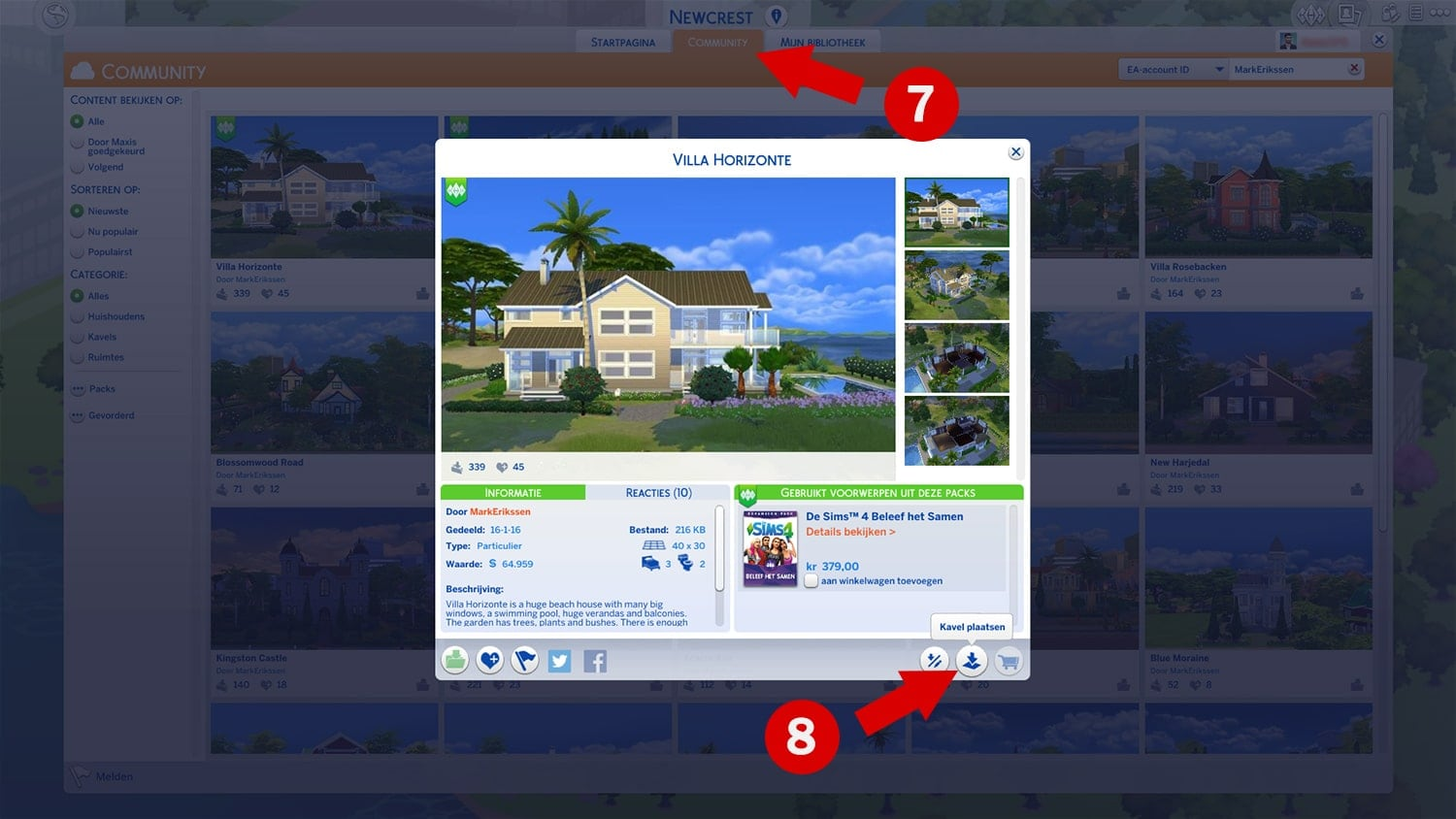 Downloaden en installeren van huizen via de Sims 4 Galerie