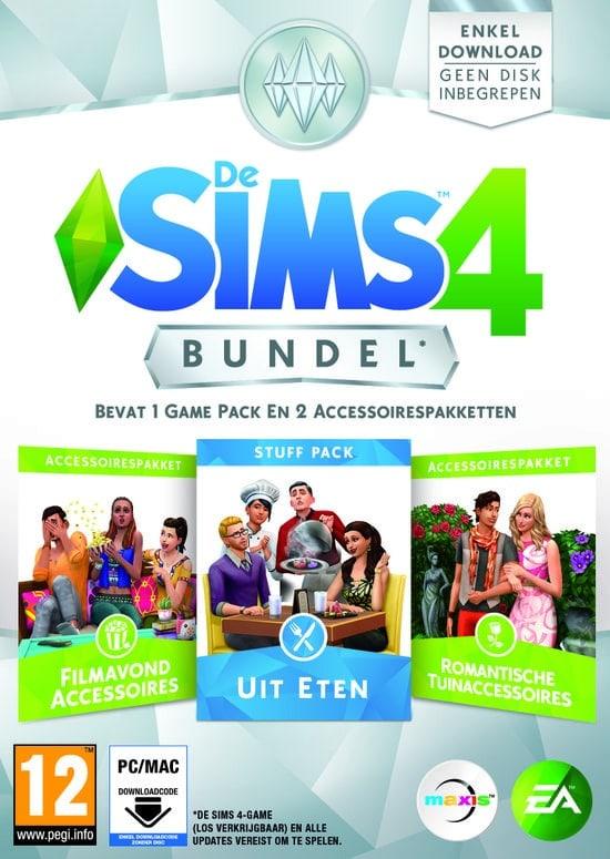 Bundel bestaande uit De Sims 4 Uit Eten, De Sims 4 Filmavond Accessoires en De Sims 4 Romantische Tuinaccessoires