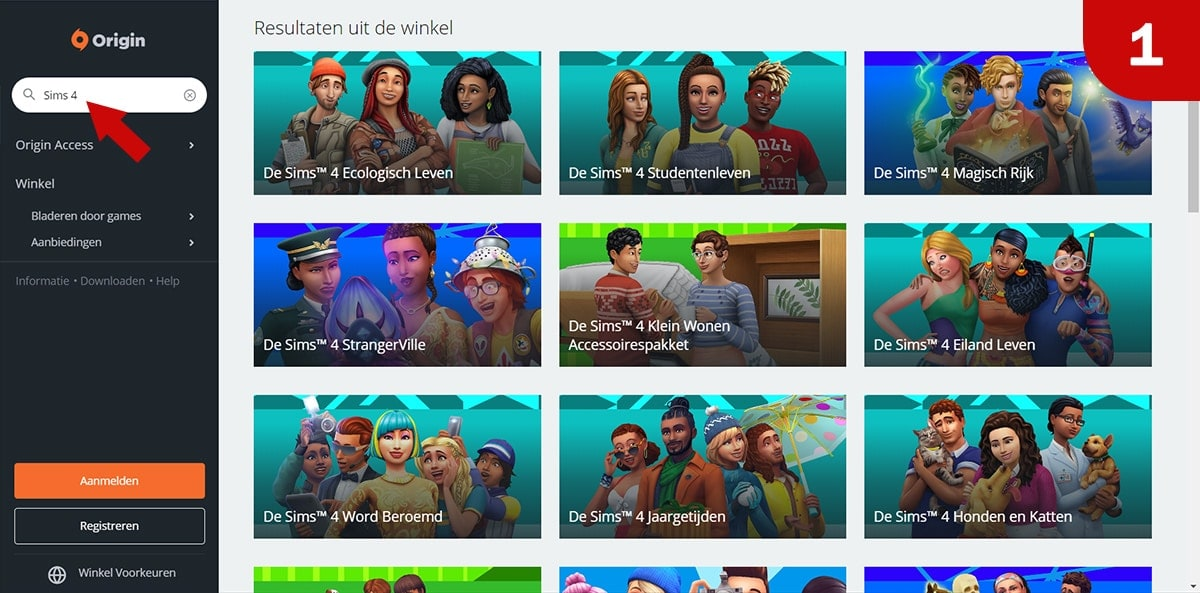 Download Sims 4 games bij Origin - Stap 1