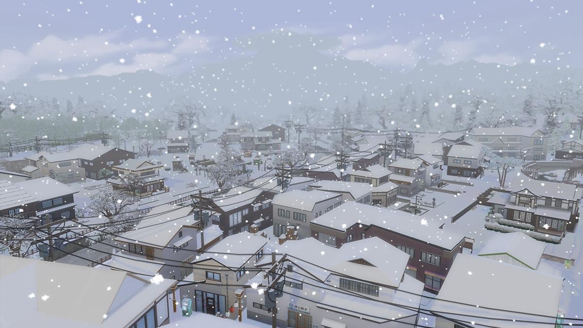 Senbamachi onder een laagje sneeuw